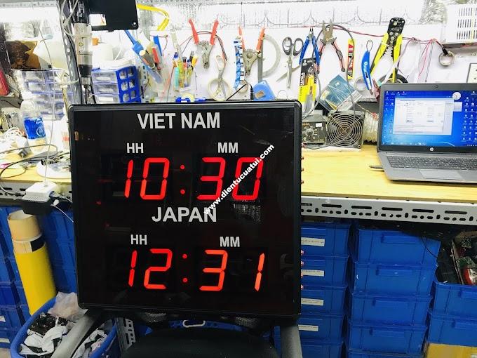 Đồng hồ led treo tường xem giờ Việt Nam - Japan