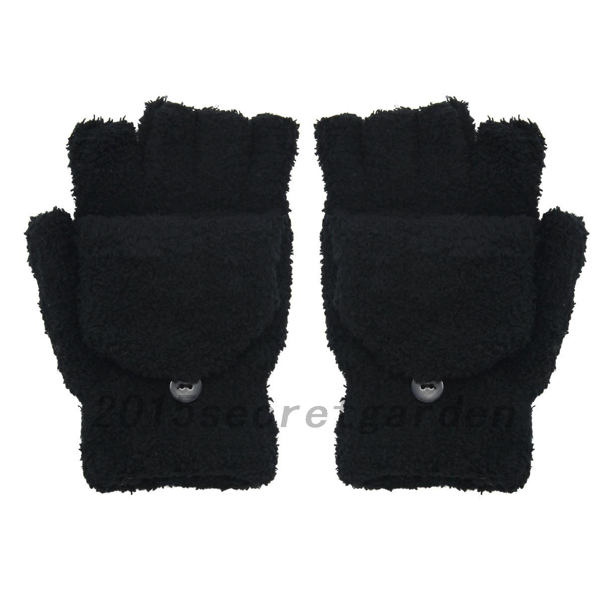 Rose-Mitaines-Gants-Pour-Femmes-Thermique-Tricot-Chaud-Gris-Half-Finger-Gloves
