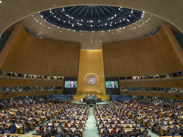 Secretary-General António Guterres addresses the opening of the general debate of the General Assembly's 73rd session, 25 September 2018. Photo: Cia Pak / UN Photo