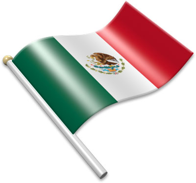 The Mexican flag on a flagpole clipart image