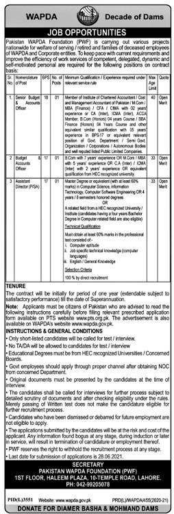 Wapda High Profile Vacancy 2021 Apply Now