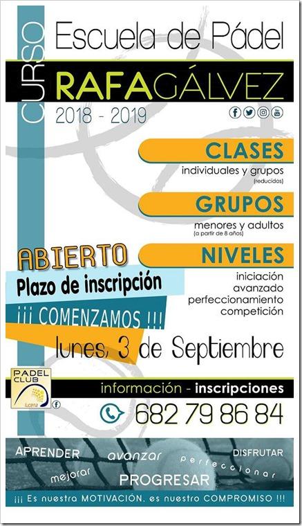 Escuela de Pádel Rafa Gálvez en el Club Pádel Lucena. Curso 2018-19. ¡Apúntate!