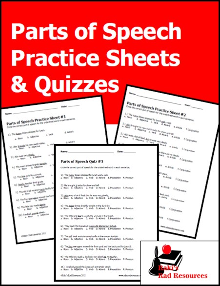 Three parts of speech practice sheets and quizzes to enhance your grammar lessons from Raki's Rad Resources.