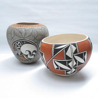 Signed Acoma Pueblo Pottery Vase Pair