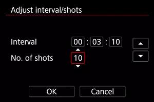 Adjust interval/shots