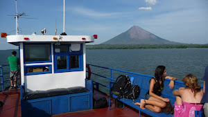 Ferry with view towards Volcán Conception - Isla Ometepe, Nicaragua