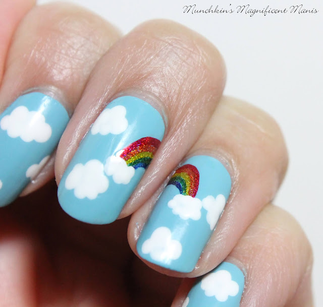 Rainbow and Clouds Nail Design