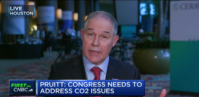 Screenshot from a CNBC interview, on 9 March 2017, with Environmental Protection Agency Administrator Scott Pruitt, in which he says that he 'would not agree that CO2 is a primary contributor to the global warming that we see'. Photo: CNBC