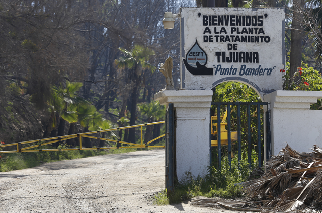 Entrance to the San Antonio de Los Buenos sewage treatment plant at Punta Bandera. Photo: The San Diego News Tribune