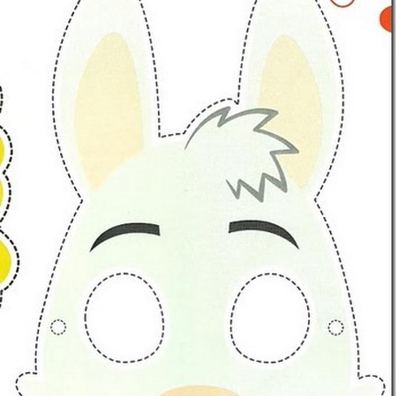 máscara color de flor, máscara de pez, máscara de conejo