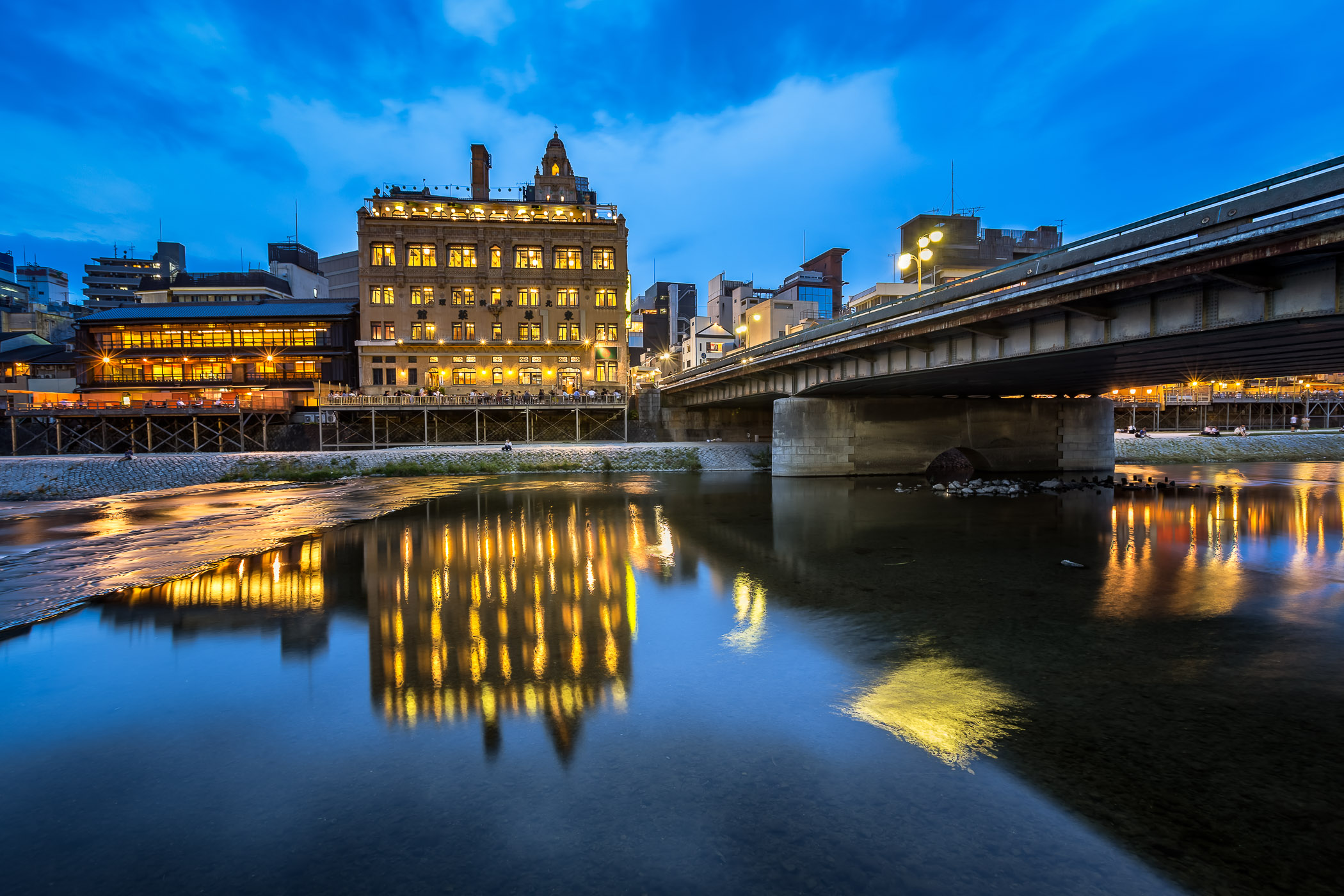 Kamo River and Shijo Dori Bridge in the Evening, Kyoto, Japan