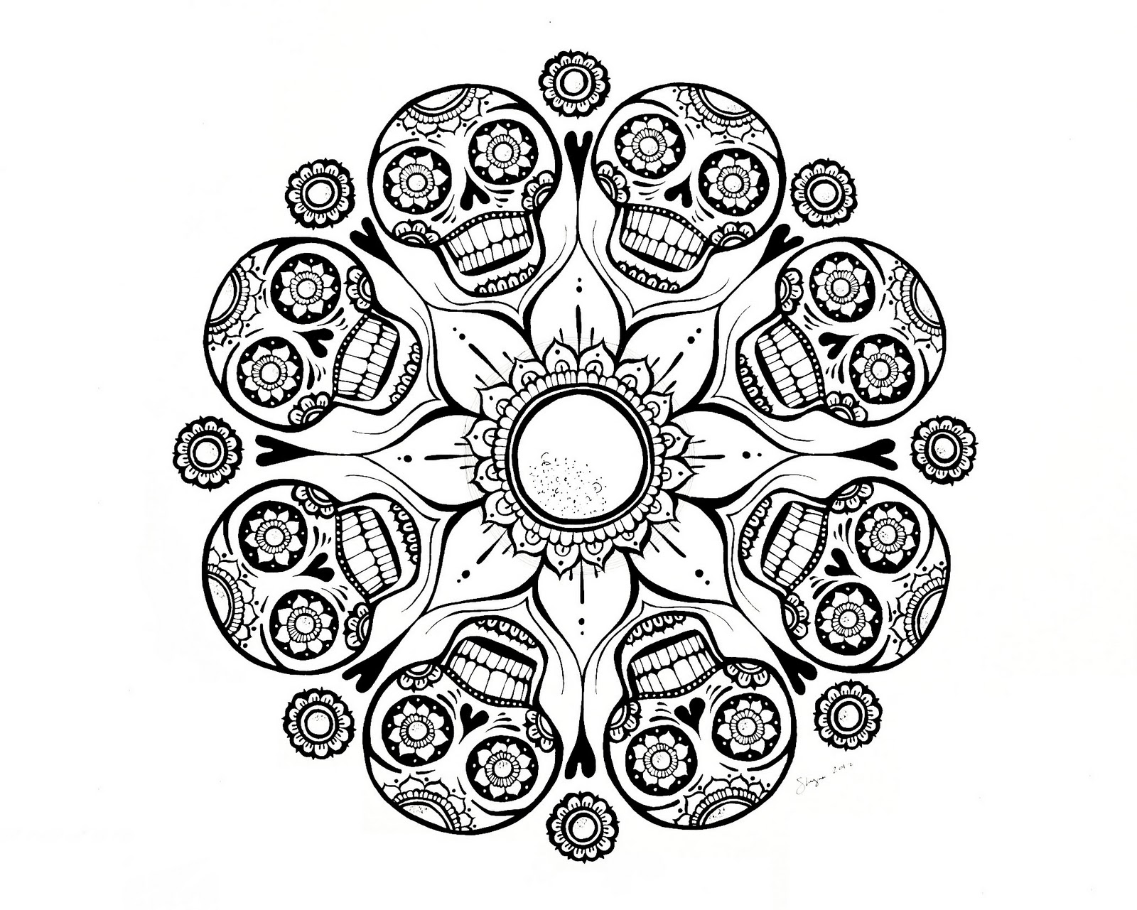 Skull Mandala Coloring Pages Am Selling Pdf Downloads In My Etsy Shop For
