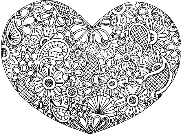 Colored Zentangles Hearts  Free Doodle Art Coloring Pages  Coloring Pages   Pictures  Imagixs
