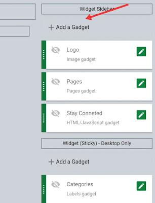 Add a widget - blogger layout settings