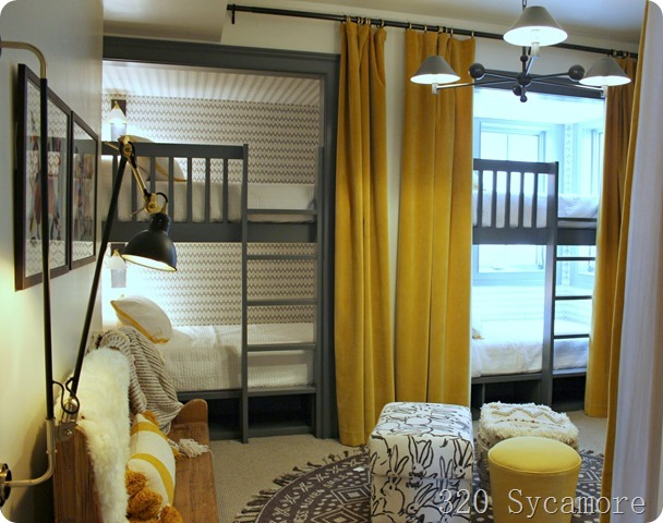 yellow gray bunk room