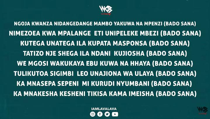 Lava Lava Ft Diamond Platnumz - Bado Sana ( Lyrics )
