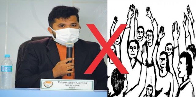 Presidente da câmara de grossos Fabyellyson Gomes impede o cidadão Aldo Garcia de usar a tribuna para fazer reivindicações.