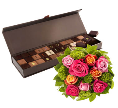 Long Stem Pink Roses with Chocolate - flower gifts