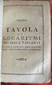 Portada de la sección de la tabla de logaritmos de los senos y tangentes.