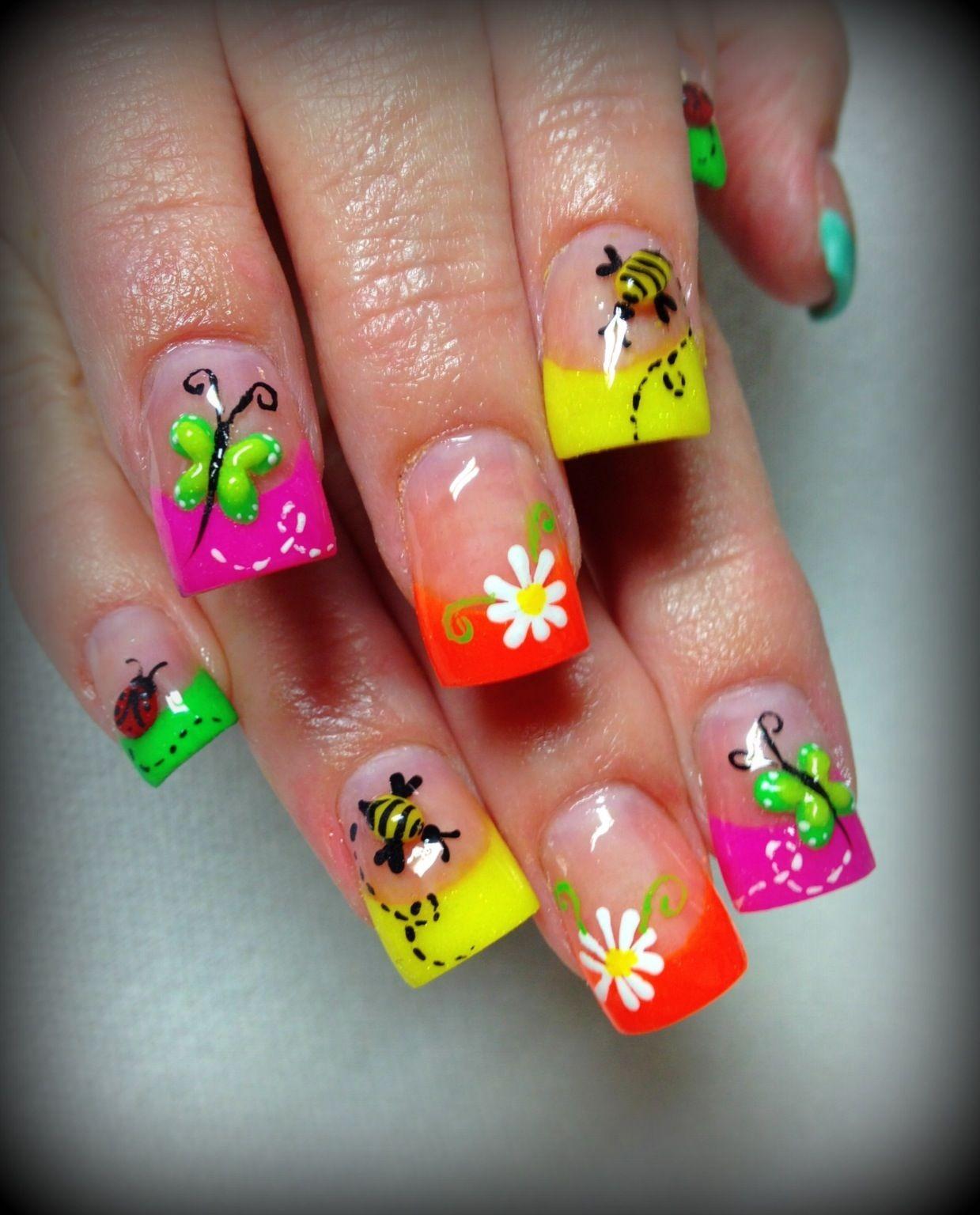 Saran Wrap Manicure with studs nail art by AH Nail Art