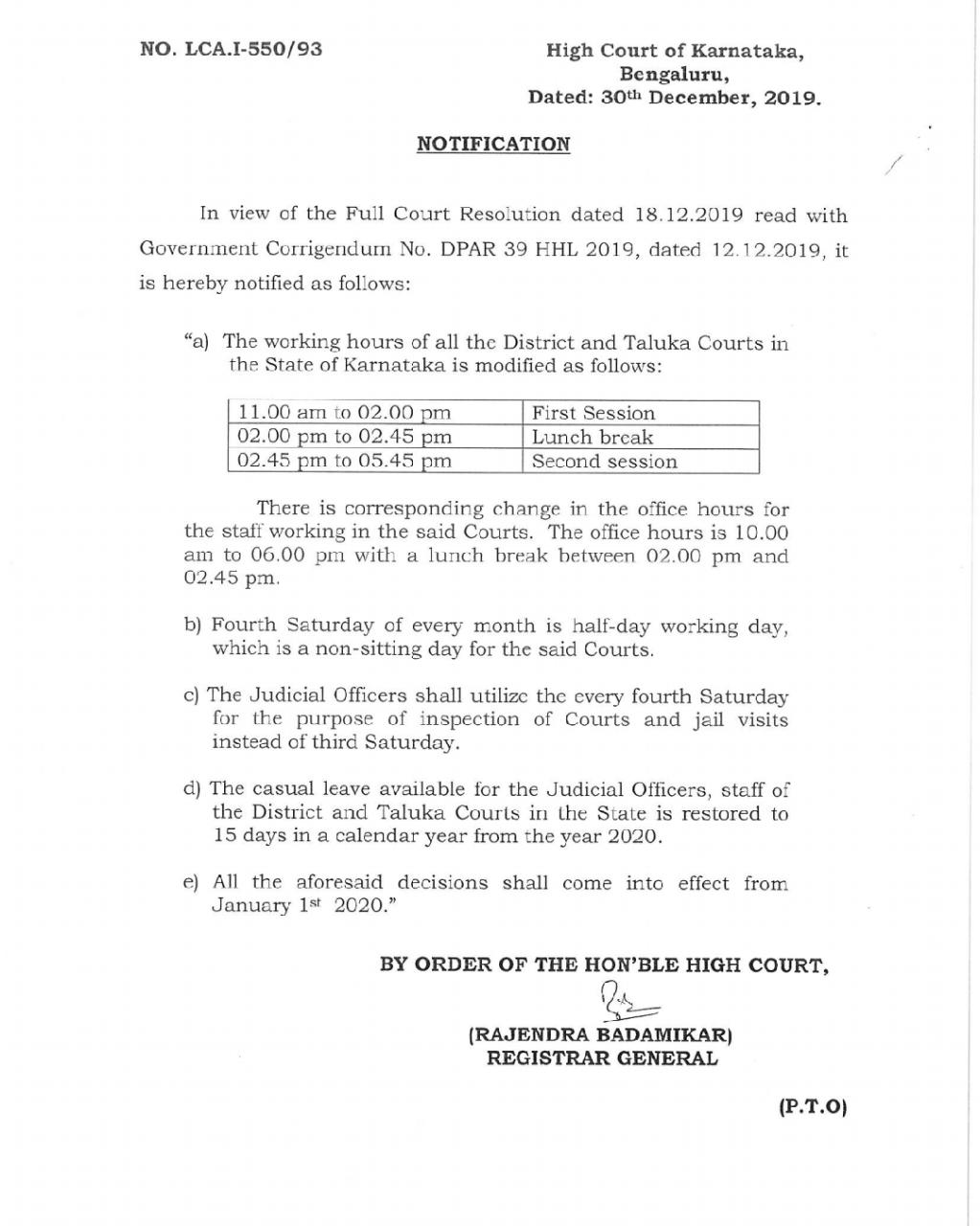 Order on changing the sessions of state courts