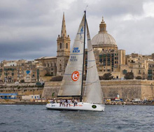 J/133 Jaru sailing into finish line at Malta