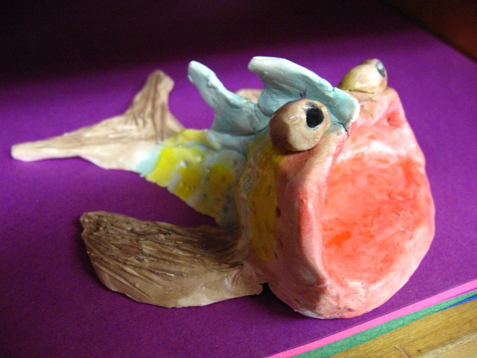 Color is my day clay pinch pot guppy fish for Clay pot fish