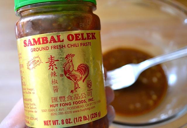Close up of sambal chili paste jar