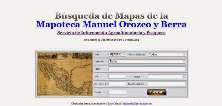 Mexican Map Search, Mapoteca Manuel Orozco y Berra