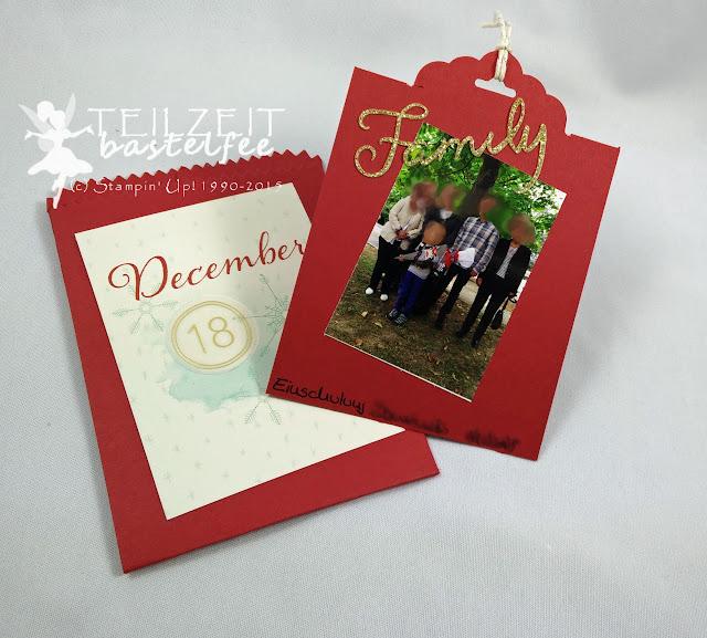 Stampin' Up! - December Inkspirations, Adventskalender, Advent Calendar, Box, Project Life Hello December 2015, Thinlits Mini-Leckereientüte, Mini Treat Bag Thinlits, quotes, Zitate, Scalloped Tag Topper, Gewellter Anhänger