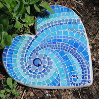 Ionian Sea Periwinkle Blue Heart Mosaic Stepping Stone