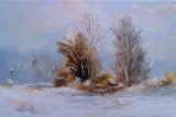 zima koło domu, olej, płótno, 27x41cm