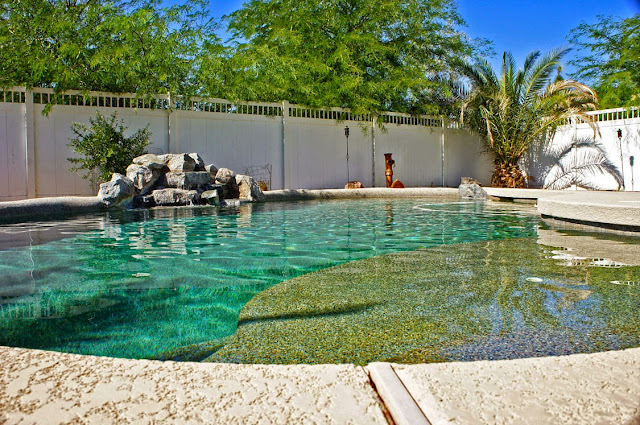 close up of pebble tec pool for horse property in San Tan Valley sitting on 2 acres