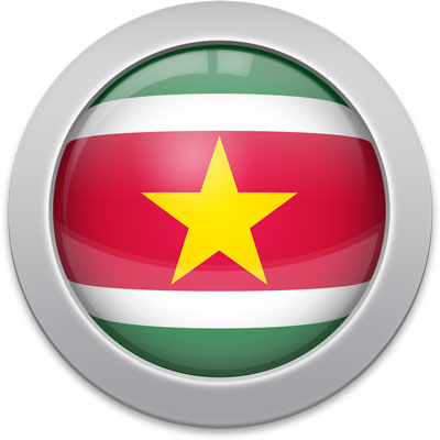 Surinamese flag icon with a silver frame