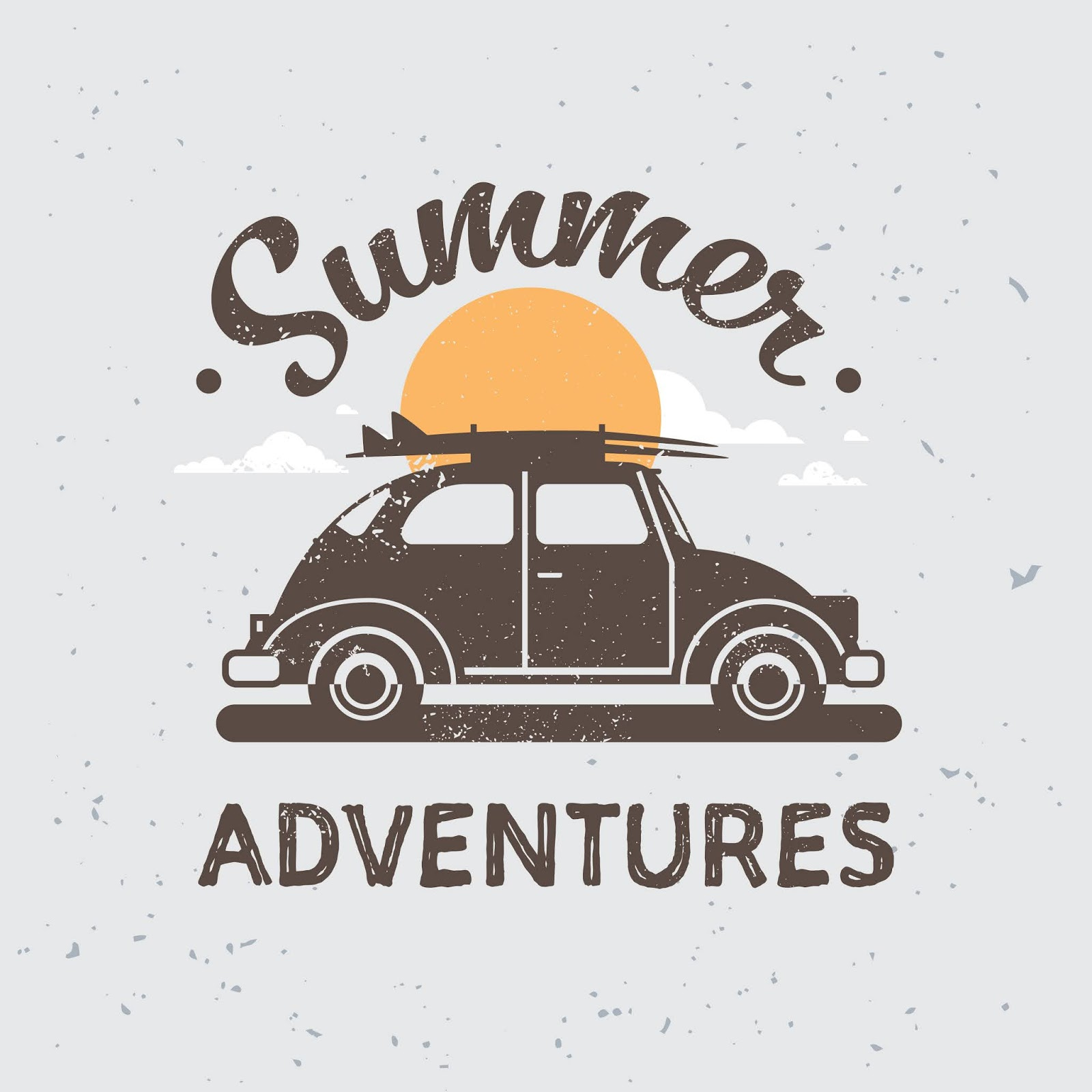 Retro Car Adventures With Luggage Roof Sunset Surfing Vintage Free Download Vector CDR, AI, EPS and PNG Formats