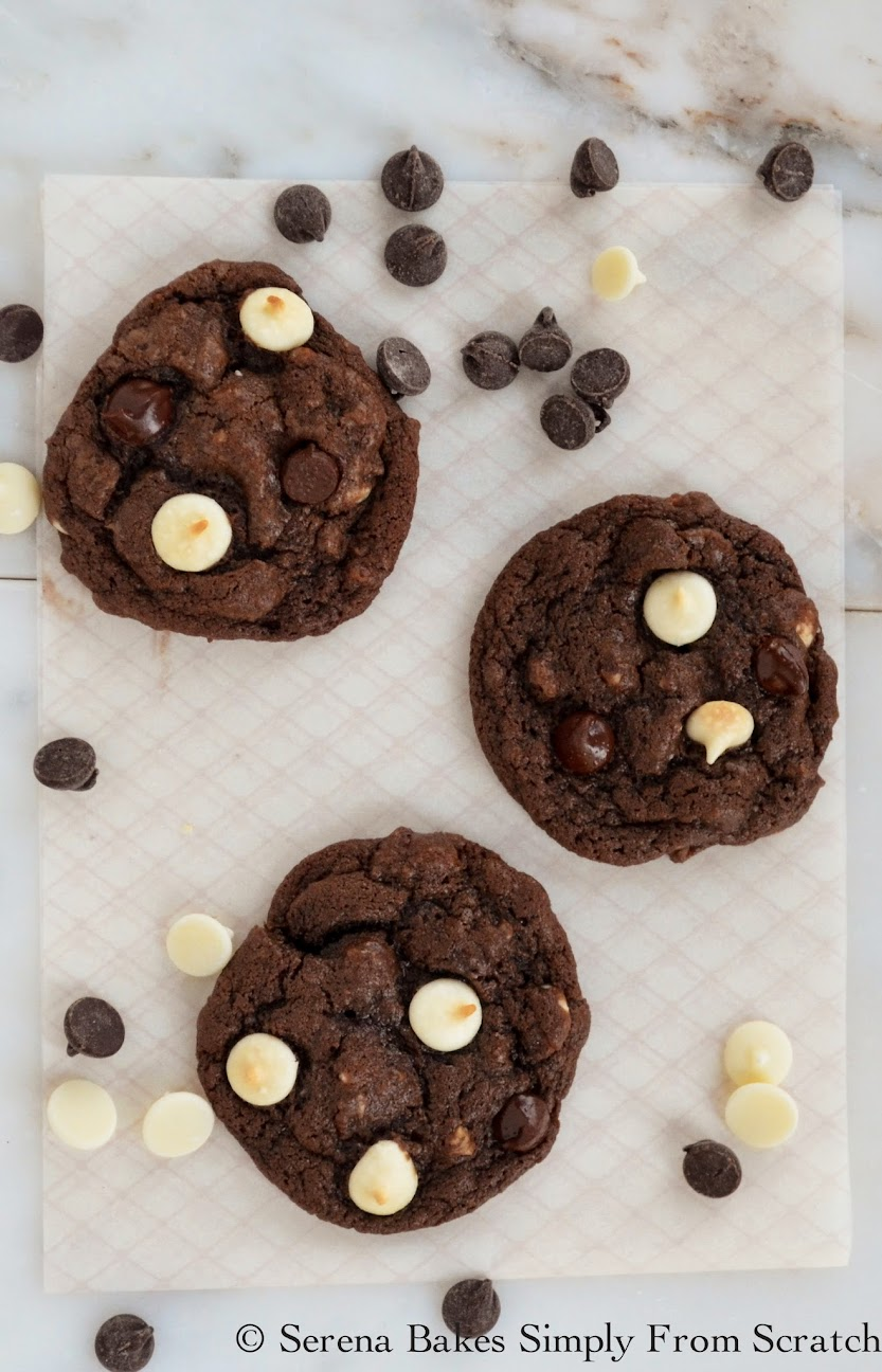 Double Chocolate Chip Cookies. Chewy chocolate cookies filled with ...