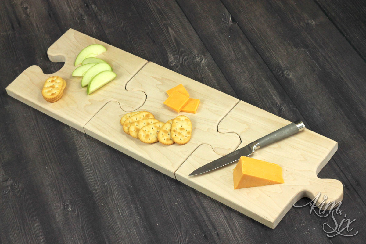 Puzzle board cutting board serving tray