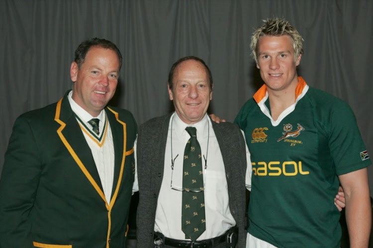 2 June 2006, Jake White, Syd Nomis and Jean De Villiers during the Springbok press conference at the Southern Sun Hotel in Sandton, Johannesburg, South Africa.
