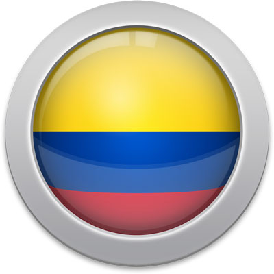 Colombian flag icon with a silver frame
