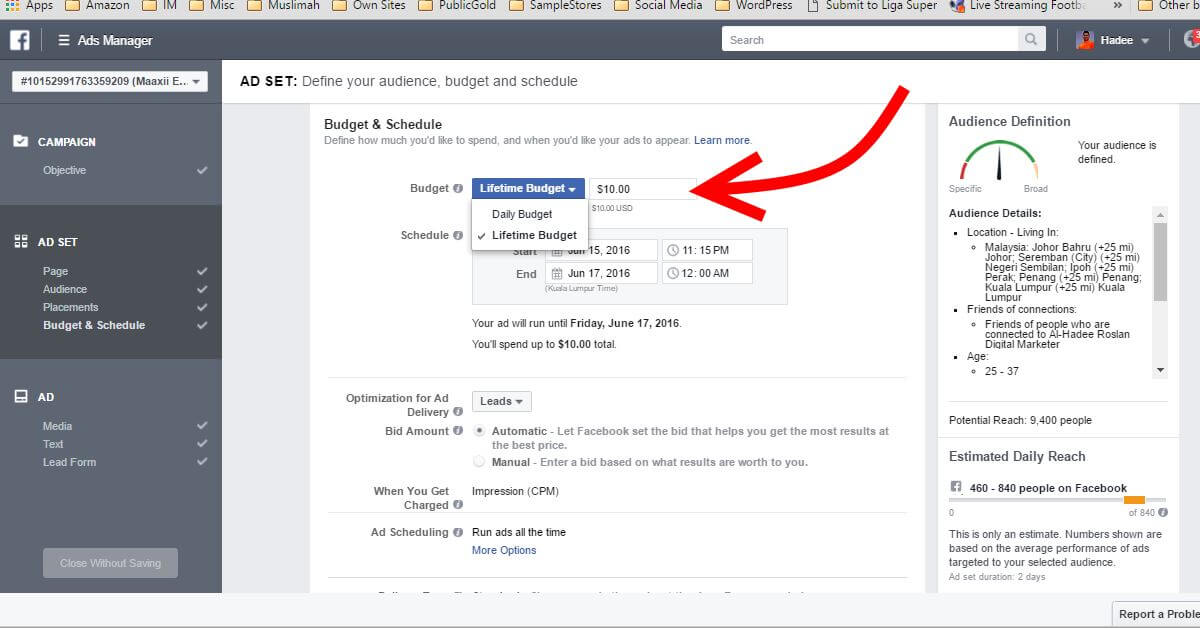 Facebook Ads Ad Set Budget