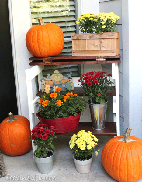 Stepstool bench fall flower display
