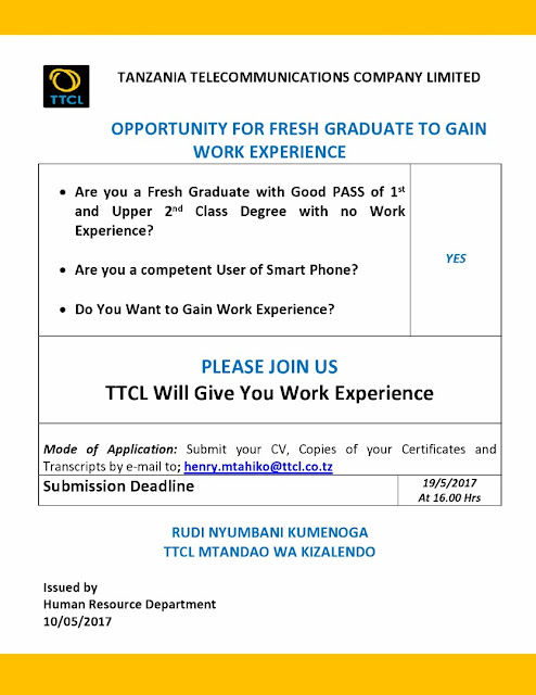 Job Opportunities at Tanzania Telecommunications Company Limited ( TTCL)
