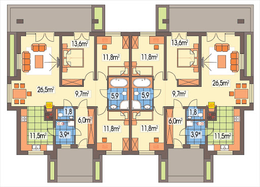 Małgosia bliźniak wersja A bez garażu, parterowa, z wykuszem - Rzut parteru