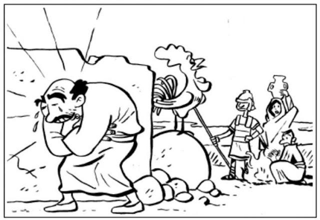 Pedro niega a Cristo para colorear