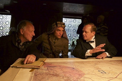 Director Herzog and Robert Pattinson in QUEEN OF THE DESERT