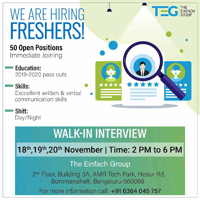 We are Hiring Freshers | Open Position  Immediate Joining | Walk-in Interview | The Einfach Group |  Bengaluru