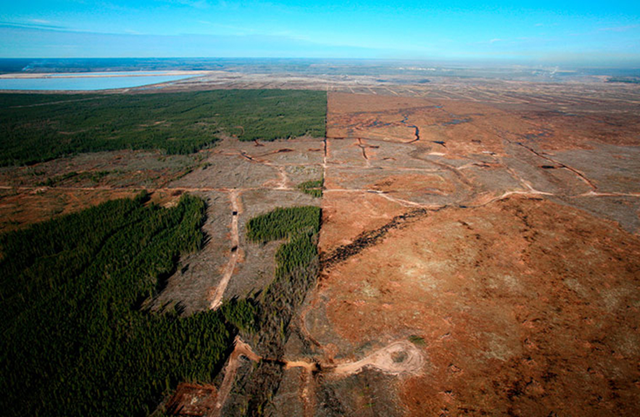 Aerial view of the destruction of Alberta's boreal forest to clear land for the Athabasca oil sand mines. Photo: Jiri Rezac / Greenpeace