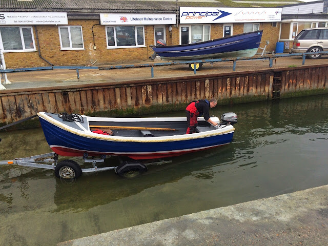 The spruced up boarding boat embarks on its trip back to the lifeboat station - 2 November 2014.  Photo credit: Paul Taylor/Alex Evans