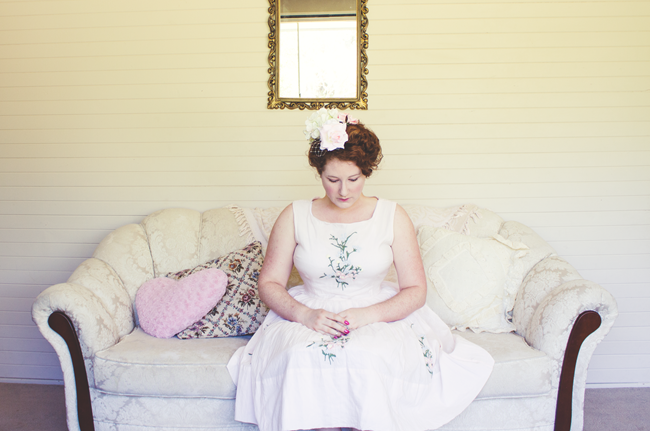 Romantic Maire Anoinette inspired look featuring Daisy Jean Floral Design Hair Flowers | Lavender & Twill