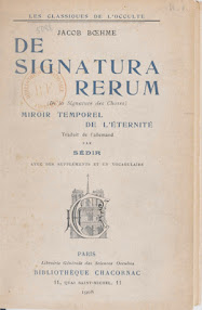 Cover of Jakob Bohme's Book De Signatura Rerum (De la Signature des Choses,1908,in French)